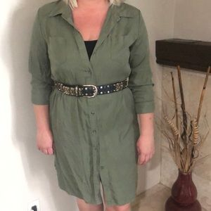 Army green button up dress